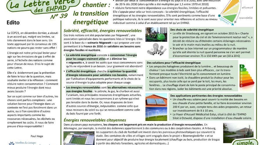 Lettre verte : la transition énergétique