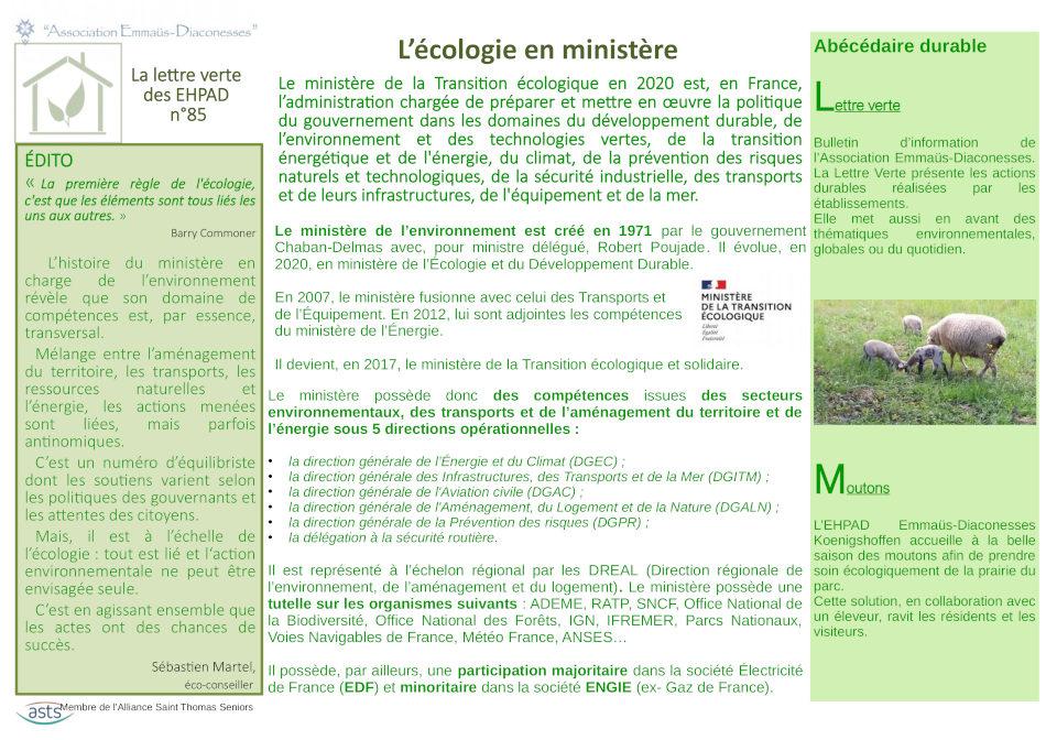 L'écologie en ministère